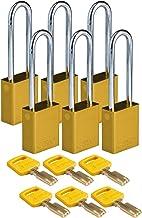 "Brady SafeKey Lockout Hangslot Aluminium Ylw 3.0"" Staal Shkl Gesleuteld Verschillende 6 Pk"