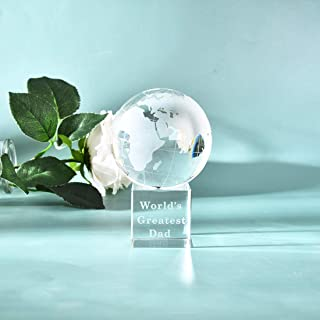 """LONGWIN World's Greatest Dad 2.76"""" Crystal Globe Awards - Father's Day Gifts for Dad from Daughter Son Unique Present Best..."""