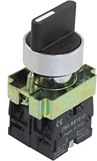 uxcell 22mm Latching 2 NO Three 3-Position Rotary Selector Select Switch ZB2-BE101C