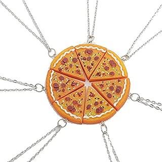 JewelBeauty 7pcs/lot Bling Silver Friend Friendship Couple Pizza Metal Necklace