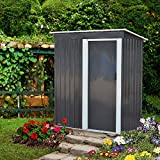 DOIT 5'x3'x6' Outdoor Metal Garden Storage Shed,Outdoor Tool House Heavy Duty Sliding Door