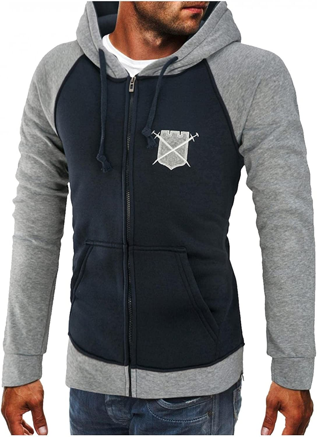 Qsctys Mens Sweatshirts Zip up Casual Patchwork Fashion Hoodie Jackets Cotton Blend Lightweight College Pullover Hooded