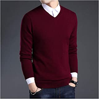 Admissioned Quiet World Sweater Men Autumn Winter Thick Warm Sweaters and Pullovers Casual V-Neck Pure Wool Sweater