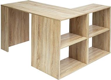 Bureau d'Angle avec 4 étagères Table Informatique en Forme de L Bureau à Domicile