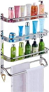 IVHJLP Plataforma de baño, 3 Capas de Pared de Acero Inoxidable con Gancho Compartimento de Almacenamiento de baño Cocina de la tablilla de Cristal estantería de baño (Size : 500mm)