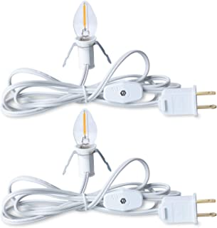 Accessory Cord with One LED Light Bulb - 6 Feet UL-Listed White Cord with On/Off Switch Plugs - Perfect for Holiday Decorations and Craft Projects, 2 Pack