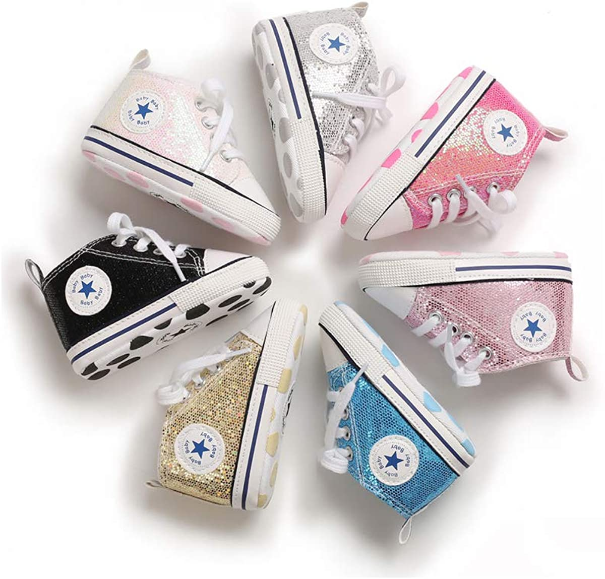 Washington Mall Infant Baby Very popular Canvas Sequin Sneakers Ankle Non- High-Top Soft Sole