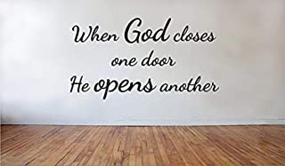 A Design World Home Quotes Wall Stickers When God Closes One Door He Opens Another Removable Vinyl Wall Decal for Bedroom Living Room Office Family