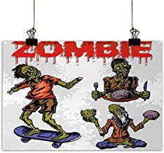 Anzhutwelve Zombie Modern Frameless Painting Dead Man Eating Brain Cannibal Meditating Skate Boarding Graphic Pattern Bedroom Bedside Painting Olive Green Red Dust 24