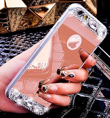 Custodia iPhone 7,Cover iPhone 8,Placcatura Lucido cristallo scintillio strass Diamante Glitter specchio Custodia Gel Trasparente Morbida Silicone Sottile TPU Cover Custodia per iPhone 7/8,Oro rosa