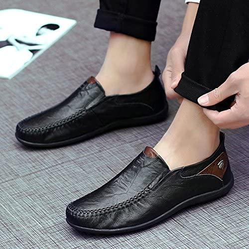 LOVDRAM Chaussures Hommes New Peas chaussures Chaussures De Conduite en Cuir De Mode Chaussures De Mode Hommes Chaussures De Grande Taille 38-47