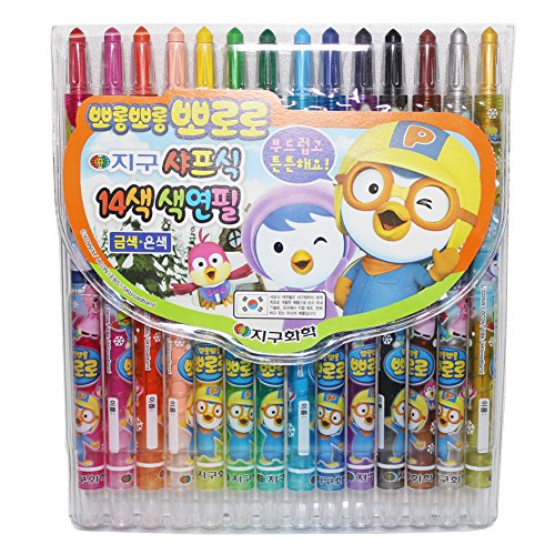 X12 Global Chemical Pororo Plastic Twist up Crayons, Colors Pencils - Various Colors- Pack of 14 Pens