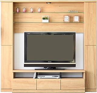ハイタイプ テレビ台 壁面 テレビボード 幅190cm 高さ180cmホワイト木目 ナチュラル ブラウン (ナチュラル) 31090-31091-31092