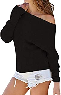 Women's Off Shoulder Long Sleeve Casual Loose Pullover Tops Shirt Knit Batwing Sweatshirts Jumper