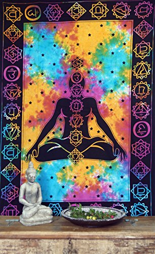 Guru-Shop Boho-Style Wandbehang, Indische Tagesdecke - Chakra Jogi Buddha/Regenbogen, Mehrfarbig, Baumwolle, 190x140 cm, Bettüberwurf, Sofa Überwurf