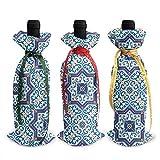 Style portugais marocain carreaux classiques 3 pièces sac de couverture de bouteille de vin de Noël ensemble vacances vin rouge champagne 13 X 4,5 pouces, bar cuisine Noël Fam
