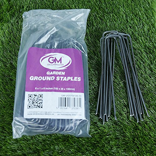 GroundMaster 6' (150mm) Heavy Duty Steel Staples Garden Membrane Securing...