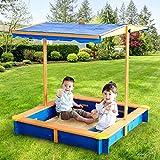 Teamson Kids Scatola di Sabbia per Bambini Esterni Giardino Legno/Blu TK-KF0003