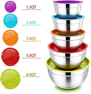 Mixing Bowls with Lids, P&P CHEF 10-Piece Stainless Steel Mixing Salad Bowls, Size 8/5/3/2.5/1.5 QT, Great for Mixing Storing Prepping, Clear Measurement Marks & Colorful Non-Slip Base