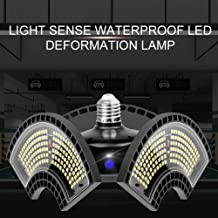 LED Garage Lights, 60W 80W 100W 120W Deformable LED Garage Ceiling Lights Waterproof LED Deformation Light with Light Sens...