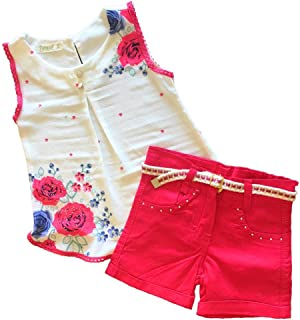 Pampai Conjunto de Pantalones Cortos para niñas con cinturón Floral para niños pequeños Ropa turca