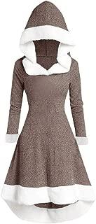 Womens Fleece Warm Long Dress, Cozy Fluffy Long Retro Dress,Plush Night Dressing Robes for Women