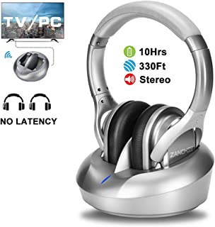 Wireless TV Headphones Over Ear Headsets-RF Transmitter Charging Dock, Hi-Fi Stereo Cordless Headphones for TV, Adjustable Lightweight Rechargeable 10Hrs Battery for Hard of Hearing, 330ft