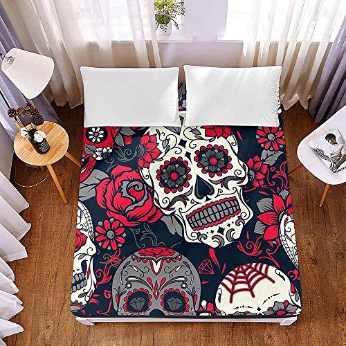 Bedclothes-Blanket Sábana Ajustable de Microfibra Protector de colchón Suave Grueso 3D Floral y patrón de Calavera Sábana elástica-El 120x200x30cm_5