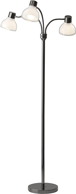 Adesso 3566-01 Presley 3-Arm Floor Lamp, Nickel Black