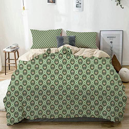 Set copripiumino beige, motivo grafico con piume di pavone in colori pastello Nostalgico asiatico, set di biancheria da letto decorativo 3 pezzi con 2 fodere per cuscini