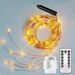 Soltuus 2 Pack 120 LED String Fairy Lights with Remote and Timer, Battery Operated Starry Copper String Lighting, Waterproof Watering Can Light, Plants Tree Vines Decorations, Warm White