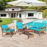 Tangkula 4 PCS Wood Patio Furniture Set, Outdoor Seating Chat Set w/Gray Cushions Back Pillow, Outdoor Conversation Set w/Coffee Table for Garden, Backyard, Poolside (Turquoise)