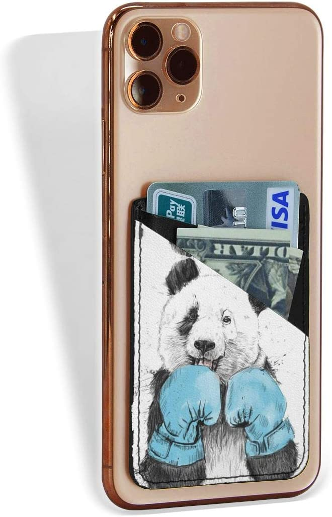 Cell Phone Card 2021 autumn and winter new Holder New York Mall Panda Boxing Stick On Wallet Adhesive Pou