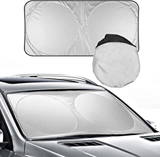 Yachee Windshield Sun Shade. Sunshade Cover Made of Superior T210 Fabric for Maximum UV and Sunheat Protection. 190x90cm Foldable Sunshade for Vehicle Front Window.