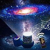 「令和最新版 リモコン式」スタープロジェクターライト音楽再生 星空ライト スターナイトライト,Ruluniky クリスマス プラネタリウム ベッドサイドランプ 常夜灯 雰囲気を作り 星空投影 タイマー付 多色変更可能 6 セット投影映画360度回転 USB 電池 兼用 お子さん・彼女にプレゼント 誕生日ギフト (ホワイト)