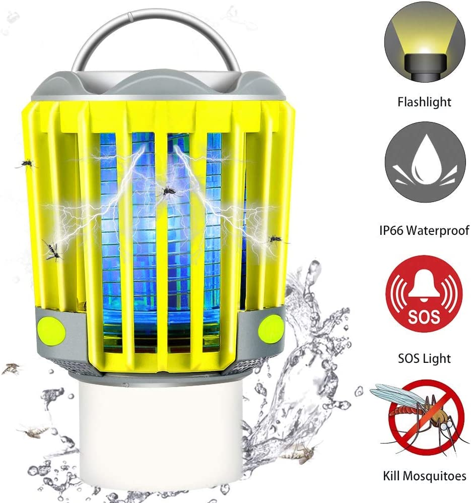 Camping Bug Zapper LED Flashlight - Portable IP66 Waterproof Outdoor Tent Light Camp Lamp with 2200mAh Rechargeable Battery, SOS Emergency Warning Lighting