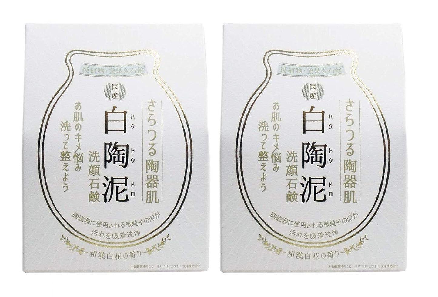 水っぽい用心不従順ペリカン石鹸 白陶泥洗顔石鹸 100g×2個セット