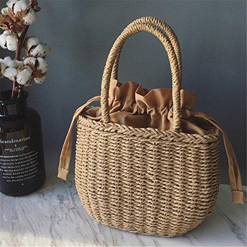 Lembeauty Bolsa de playa de ratán estilo retro, cesta de almacenamiento para el hogar, para la compra, para mujer
