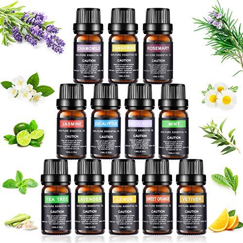 Set de aceites esenciales,100% Natural Puro Aromaterapia Aceite Aromático, Set de Aceites Esenciales para Humidificador y Difusor Aroma (12 Flavor)