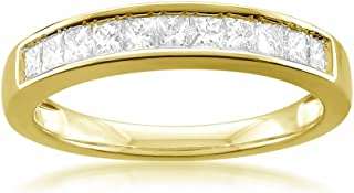 14k Yellow Gold Princess-cut 11-Stone Diamond Bridal Wedding Band Ring (1/2 cttw, J-K, SI1-SI2)