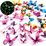 Luminous 3D Butterfly Wall Decors Removable Butterfly Stickers DIY Art Crafts Decor for Be...