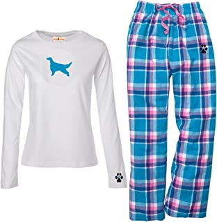 YourBreed Clothing Company Irish Red & White Setter Ladies Flannel Pajamas.