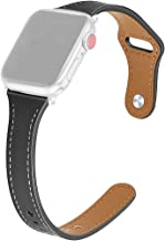 Amaae For Apple Watch Series 1/2/3/4 38/40mm Deluxe Leather Denim Bracelet Watch Strap(Color:Black ; Material:Denim Leather)