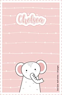 Chelsea: Personalized Name Dot Grid Paper Notebook Light Pink Elephant | 6x9 inches | 120 pages: Notebook for drawing, wri...