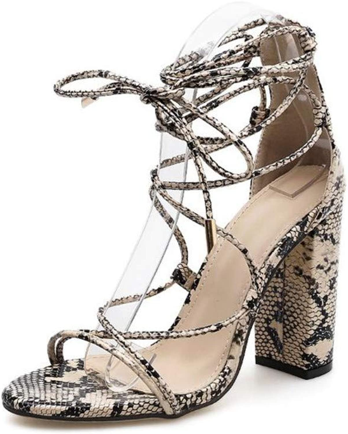 JQfashion Women's High-Heeled shoes Surnamed High Snake Pattern Hollow Straps High-Heeled Sandals Thick and Tall