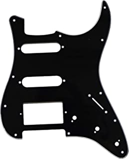 Metallor Electric Guitar Pickguard 3 Ply 11 holes 2 Single Pickup 1 Humbucker Pickup SSH Compatible with Strat Style Modern Guitar Parts Replacement(Black)