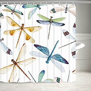 NYMB Dragonfly Shower Curtain, Colorful Patterns Spots on Wings Insect Shower Curtain for Bathroom, Fabric Bath Curtains 12PCS Hooks Included, 69X70 Inches