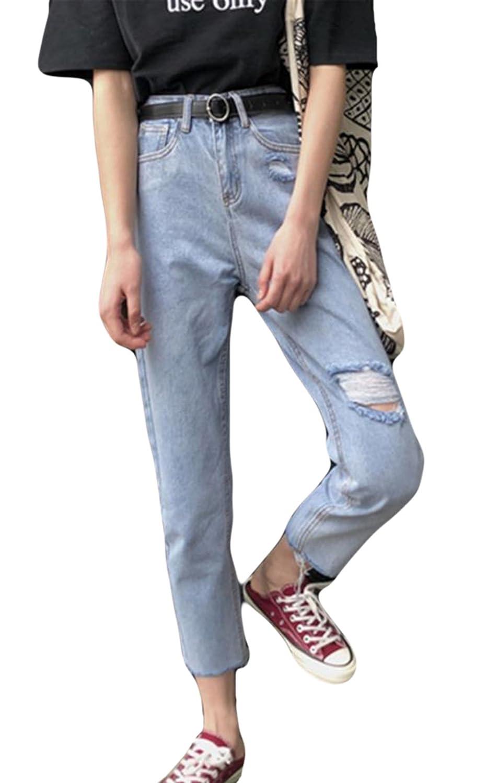 YiTong デニム パンツ スキニー レディース ストレートパンツ 9分丈 夏 ゆったり パンツ ハイウエスト ズボン ジーンズ ズボン穴がある BF風 韓国 無地 カジュアル ファッション