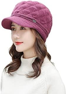Winter Knit Newsboy Hats Visor Beret Hat for Women Girls Warm Snow Ski Outdoor Caps Baggy Crochet Beanie Hat Solid Warm Fashion Tongue Hat Cabbie Hat