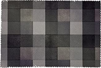 Ryocas Placemats, Textured Weave, Set of 12, Faded Black Check Plaid